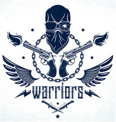 anarchy and chaos aggressive emblem or logo with vector image