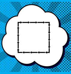arrow on a square shape black icon in vector image