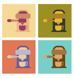 Assembly flat icons coffee electronic machine vector