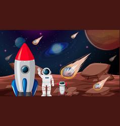 Astronaut on planet scene vector