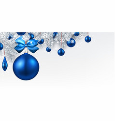Background with blue 3d christmas ball vector