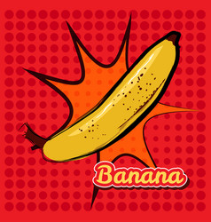banana with a point texture pop-art style vector image