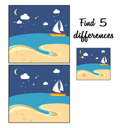 beach scene with the sailing boat at a night find vector image