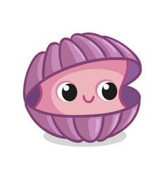 Beautiful ocean shell in cartoon style vector