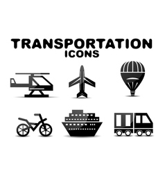 Black glossy transportation icon set vector image