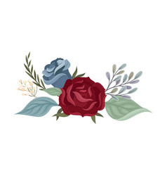 Blue and burgundy roses on a vector