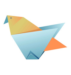 blue and yellow origami bird on white vector image