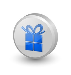 Blue gift icon vector