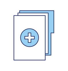 Blue medical history folder vector