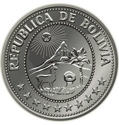 Bolivian silver centavo coin vector