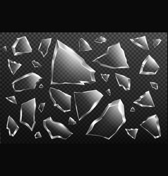 broken glass shards set crashed window fragments vector image