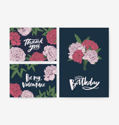 Bundle of birthday and st valentines day greeting vector
