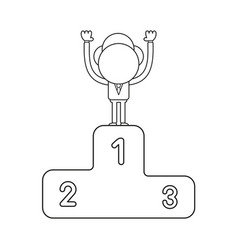 businessman character standing on first place of vector image