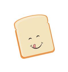 cartoon toast bread icon bread toast smiling vector image