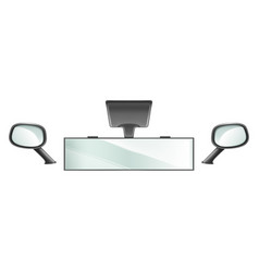 Center and side rear view car mirrors vector