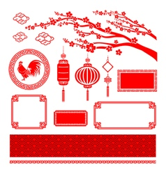 Chinese style art boarder frame element for design vector image