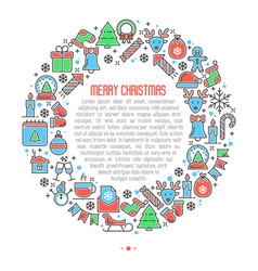 Christmas celebration concept in circle vector