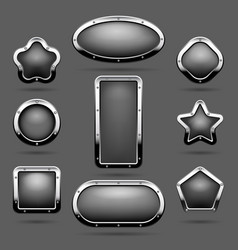 chrome frames or metal panel buttons vector image