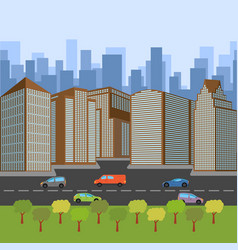 City street with a roadway and skyscrapers vector