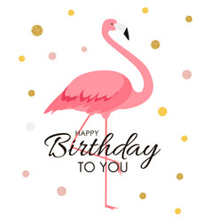 colorful cartoon pink flamingo on a beautiful vector image