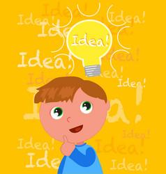 cute boy with a smart idea vector image
