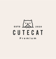 cute cat hipster vintage logo icon vector image