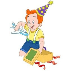 Cute happy cartoon boy with a toy plane vector