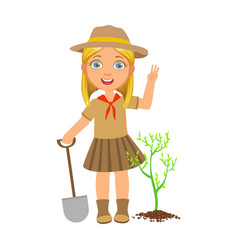 cute scout girl with a shovel planting green tree vector image