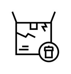 Damaged box line icon sign vector