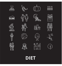 diet editable line icons set on black vector image