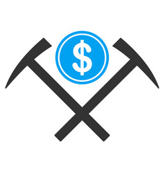 Dollar mining hammers flat icon vector