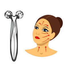 facial roller beauty massager for anti aging vector image