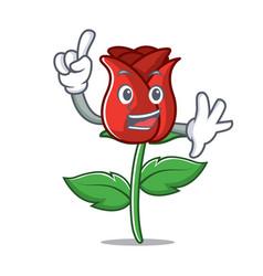 Finger red rose mascot cartoon vector