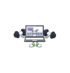 Fitness laptop with a cartoon character style vector