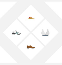 Flat icon clothes set of brasserie male footware vector