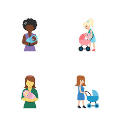 Flat icon parent set of perambulator woman vector