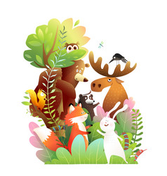 forest animals friends in wild on big tree vector image