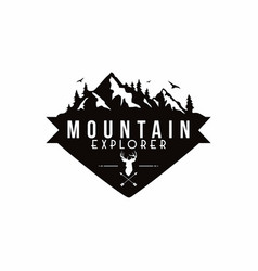 forest mountain adventure deer hunter logo vector image