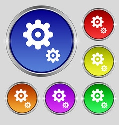 Gears icon sign Round symbol on bright colourful vector