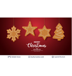 Gingerbread cookies and text on red banner vector
