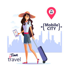 Girl in city order a taxi through app vector
