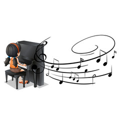 girl playing piano with music notes in background vector image