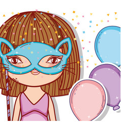 Girl wearing cat mask with balloons style vector