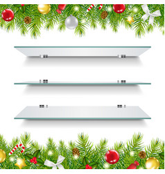 glasses shelves with christmas border vector image