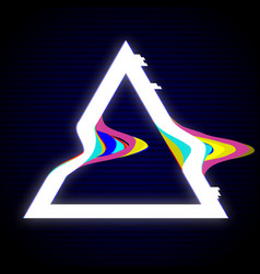 Glitched triangle frame design distorted glitch vector