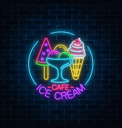 Glowing neon ice cream cafe signboard in circle vector