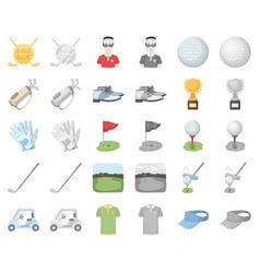 Golf and attributes cartoonmonochrom icons in set vector