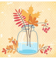 Greeting card with autumn leaves and berries vector