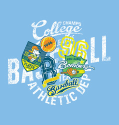 grunge baseball kids team league college champs vector image