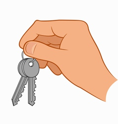 Hand holding house keys vector
